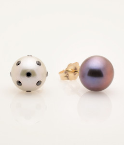 View 2 of Cultured Freshwater White and Black Pearl Earrings with LadyBug Diamond Pave and 14k Gold Posts by Jewelry Designer Nektar De Stagni (8-9mm)