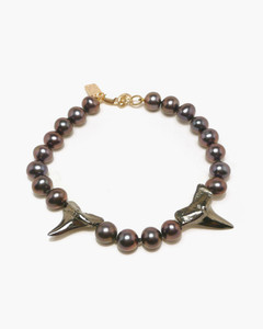Black Gold Shark Teeth & Black Pearl Bracelet by Jewelry Designer Nektar De Stagni