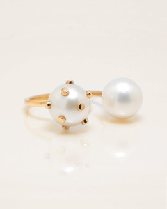 Cultured Freshwater Double Pearl Ring with 14k Gold Dots and Band by Jewelry Designer Nektar De Stagni (8-9 mm. Size 5-6-7)