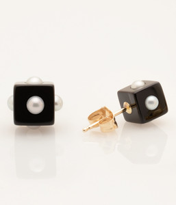 View 2 of Mini Pearl Onyx Cube Earrings with 14k Gold Post by Nektar De Stagni