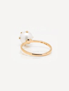 Cultured Freshwater Pearl Ring with 14k Gold Dots by Jewelry Designer Nektar De Stagni (8-9 mm. Size 5-6-7)