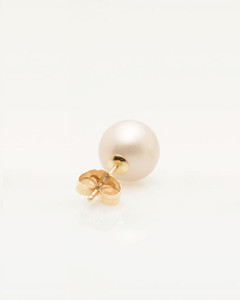 Back view of Cultured Freshwater Pearl Earrings with Smiley Emoji Diamond Pave and 14k Gold Posts by Jewelry Designer Nektar De Stagni (8-9 mm)