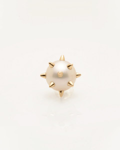 Single Cultured Freshwater Pearl Earring with 14k Gold Spikes & Post by Jewelry Designer Nektar De Stagni (8-9mm)