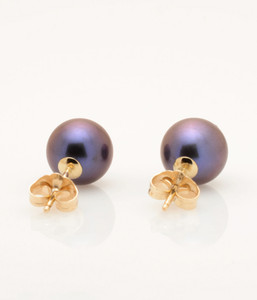 Back view of Single Cultured Freshwater Black Pearl Earring with 14k Gold Post by Jewelry Designer Nektar De Stagni(8.5 mm)
