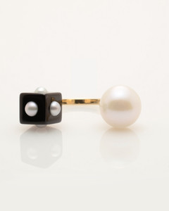 Mini Pearl Onyx Cube & Pearl Ring with 14k Gold Band by Fine Jewelry Designer Nektar De Stagni (8-9mm. Size 5, 6, 7).