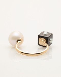 Backview of Mini Pearl Onyx Cube & Pearl Ring with 14k Gold Band by Fine Jewelry Designer Nektar De Stagni (8-9mm. Size 5, 6, 7).