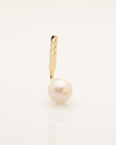 Cultured Freshwater Pearl Single Earring Jacket with Spike in 14k Gold by Jewelry Designer Nektar De Stagni (6-mm)
