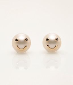Cultured Freshwater Pearl Earrings with Smiley Emoji in 14k Gold & Black Diamond by Jewelry Designer Nektar De Stagni (8-9 mm)