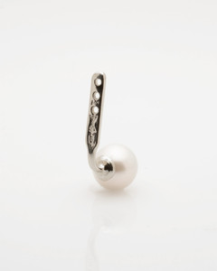 Back view of Cultured Freshwater Pearl Single Earring Jacket in 925 Sterling Silver by Jewelry Designer Nektar De Stagni (6-mm)