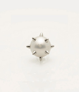 Single Cultured Freshwater Pearl Earring with 925 Sterling Silver Spikes & Post by Jewelry Designer Nektar De Stagni (8-9mm)