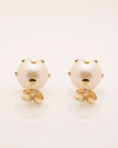 Back View of Cultured Freshwater Pearl Earrings with 14k Gold Dots & Post by Jewelry Designer Nektar De Stagni (8-9mm)
