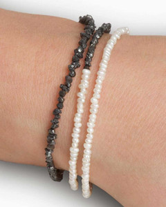 Pearl and Rough Black Diamond Bead Delicate Friendship Necklace by Designer Nektar De Stagni may be worn as a bracelet