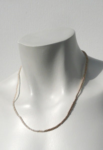 Model fit view of Pearl and Gold Bead Delicate Friendship Necklace by Designer Nektar De Stagni