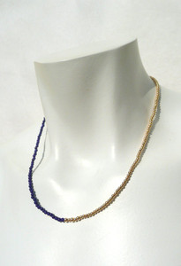 Fit Example of Lapis Lazuli and Gold Delicate Necklace by Jewelry Designer Nektar De Stagni