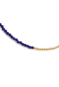 Close Up View of Lapis Lazuli and Gold Delicate Necklace by Jewelry Designer Nektar De Stagni