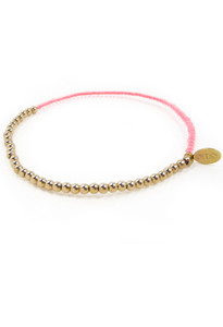 14k Gold and Pink Neon Bead Friendship Delicate Bracelet by Fine Jewelry Designer Nektar De Stagni