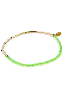 Side view of Neon-Green-Gold-Bead-Delicate-Friendship-Bracelet-by-Fine-Jewelry-Designer-Nektar-De-Stagni