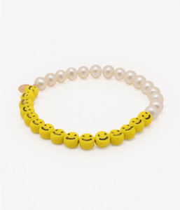 Side view of Cultured Freshwater Pearl Bracelet with Smiley Face Emoji Glass Beads by Jewelry Designer Nektar De Stagni