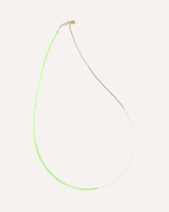 Green Neon Glass Bead,  Seed Pearl, and Gold Delicate Necklace by Designer Nektar De Stagni