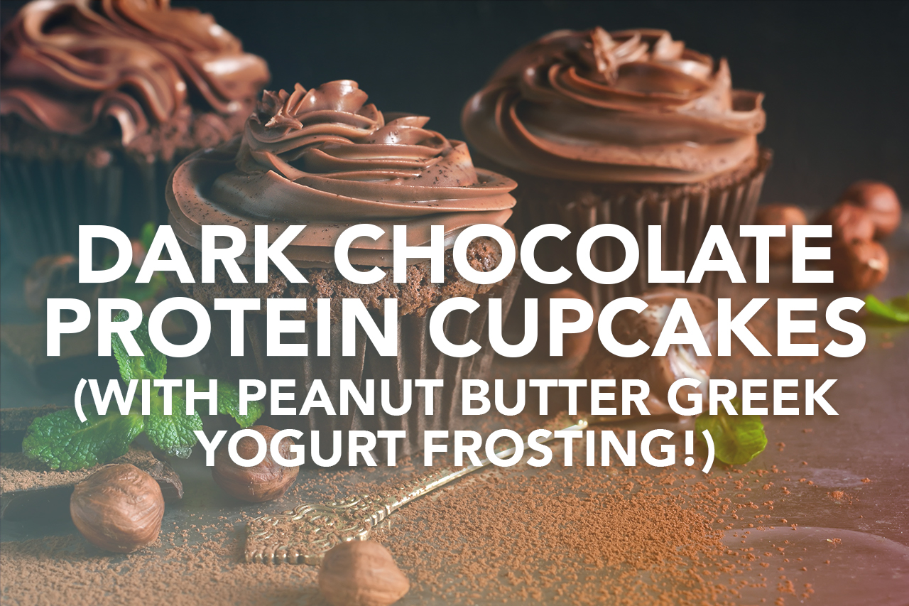 Rivalus At Home Recipes: Dark Chocolate Protein Cupcakes (with Peanut Butter Greek Yogurt Frosting!)