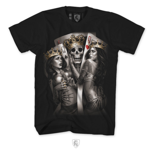2 Of A Kind, featuring A king and 2 Queens on a black tee.