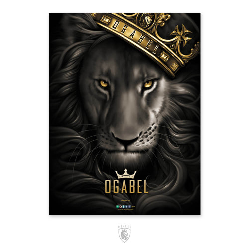 Black and grey lion with gold crown