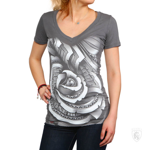 Money Rose 014 GREY V-Neck