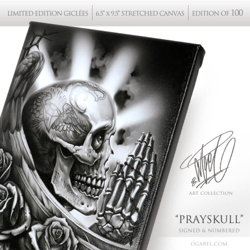 "Prayskull 6.5""x 9.5"" Limited Edition Canvas"