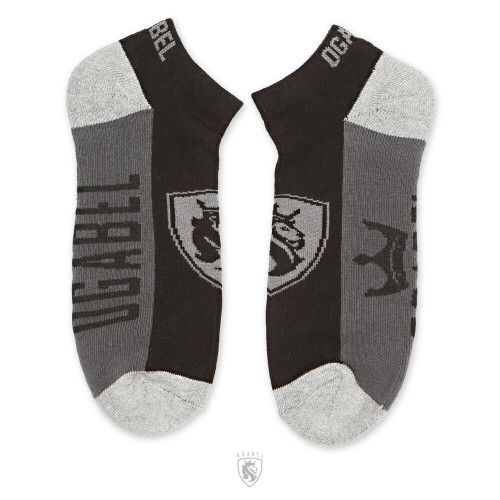Black and Grey Ankle Socks with Lion Shield