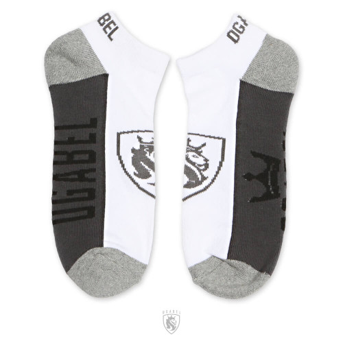 White and Grey Ankle Socks with Lion Shield