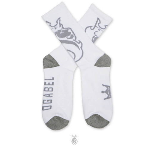 White and Grey Crew Socks with OG Lion