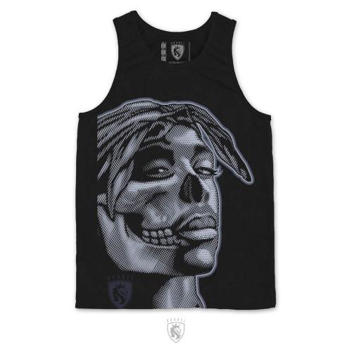 Tupac illustrated as a half skull