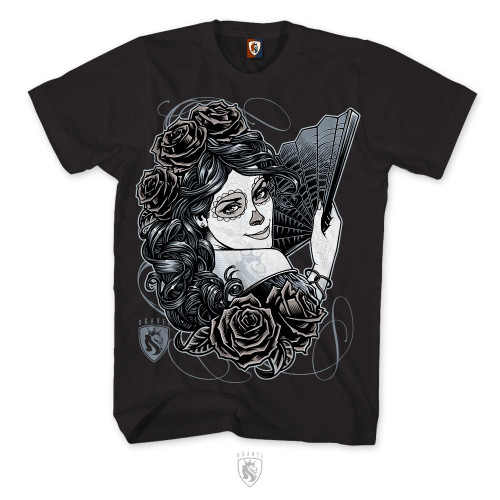 Day Of The Dead design on mens Tee