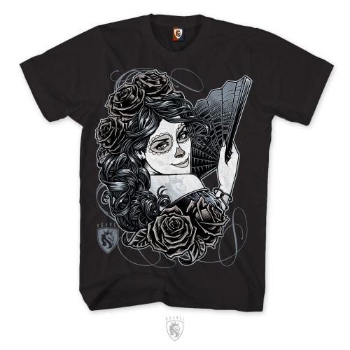 La Catrina, Day Of The Dead / Dia De Los Muertos design on mens Tee