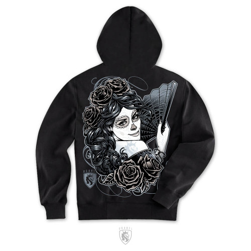 Day of the dead themed design on a men's hoodie