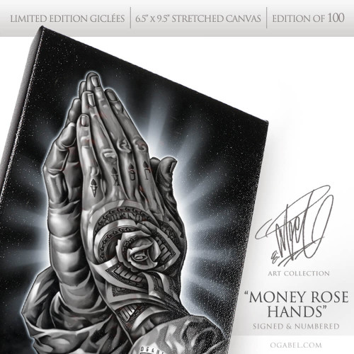 "Money Rose Hands 6.5""x 9.5"" Limited Edition Canvas (Black)"