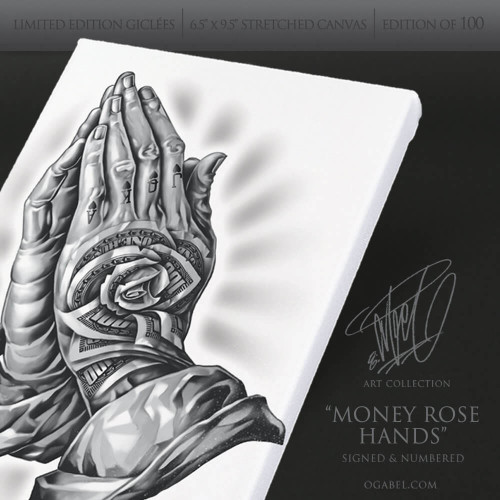 "Money Rose Hands 6.5""x 9.5"" Limited Edition Canvas (White)"