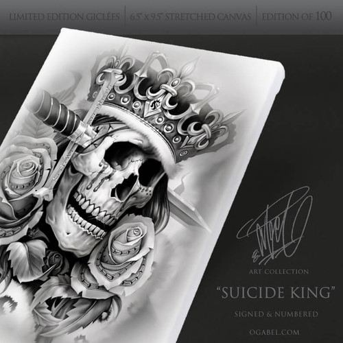 "Suicide King 6.5""x 9.5"" Limited Edition Canvas  (White)"