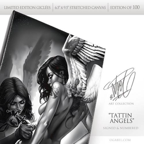 "Tattin Angels 6.5""x 9.5"" Limited Edition Canvas"