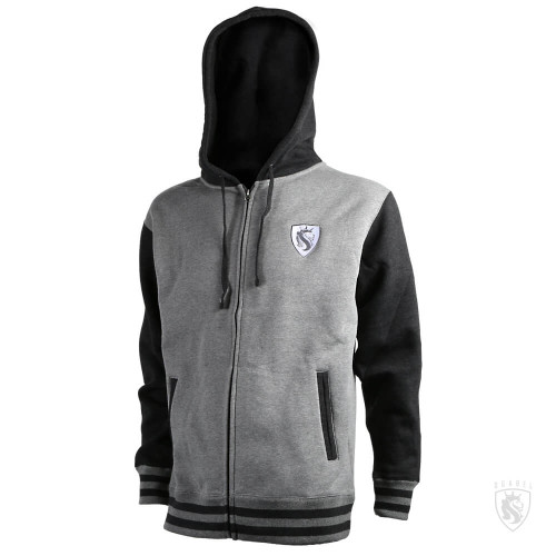 Duo-Tone Lion Shield Zip Hoodie (Charcoal)