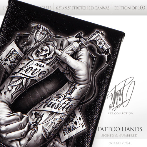 """Tattoo Hands 018 6.5""""x 9.5"""" Limited Edition Canvas"""