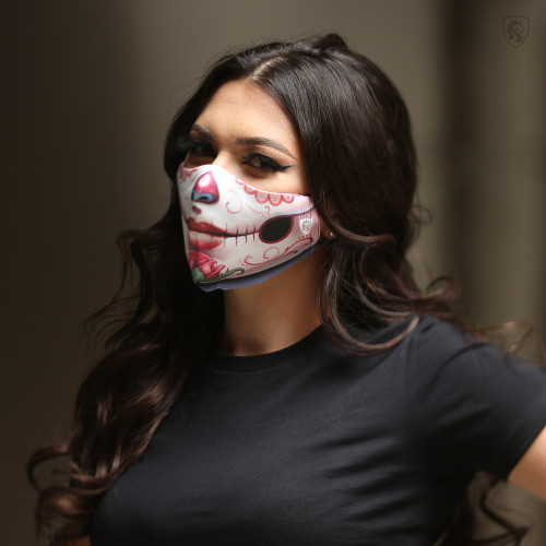 High quality double layered Sugar Skull themed face mask
