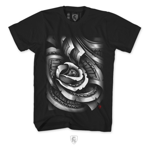 The world famous Money Rose design on a black tee