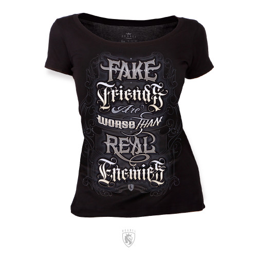 Fake Friends are worse than Real Enemies lettering style design on Scoop neck tee