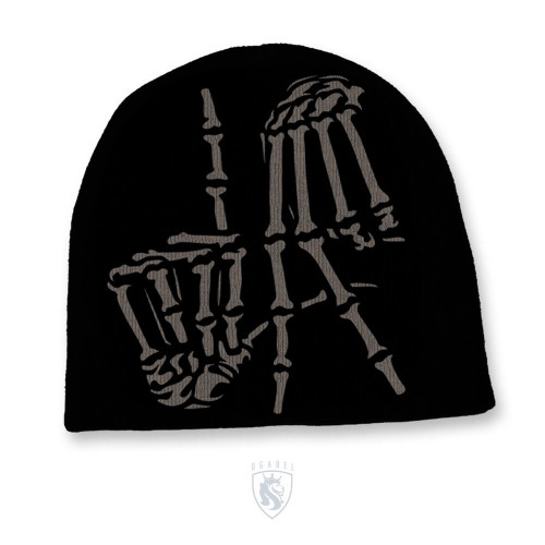 Men's Solid Color Knit Hat With LA Bones Hands Print