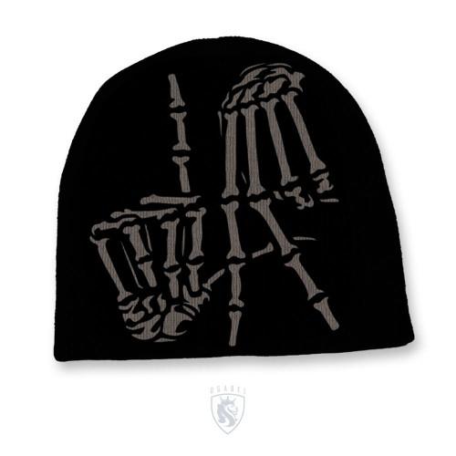 Men's Solid Color Knit Hat With LA Bones Hands Print
