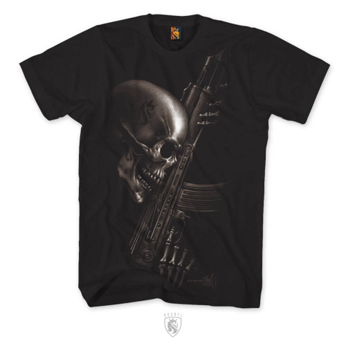 Skull holding an AK 47 assault rifle