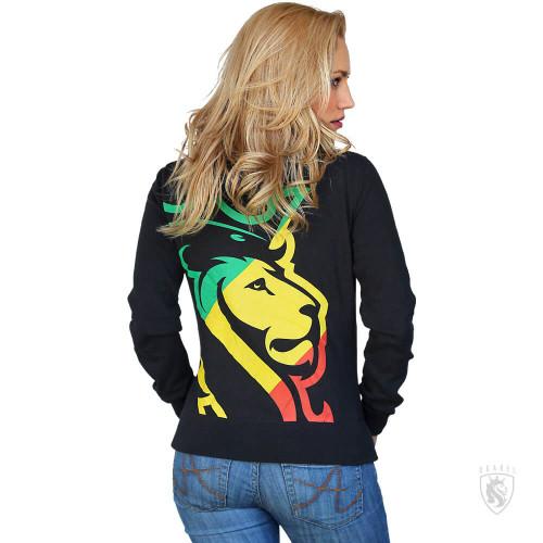 ogabel lion logo with rasta colors