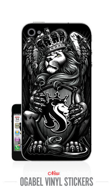 iPhone 4 Sticker with Crowned Lion Print