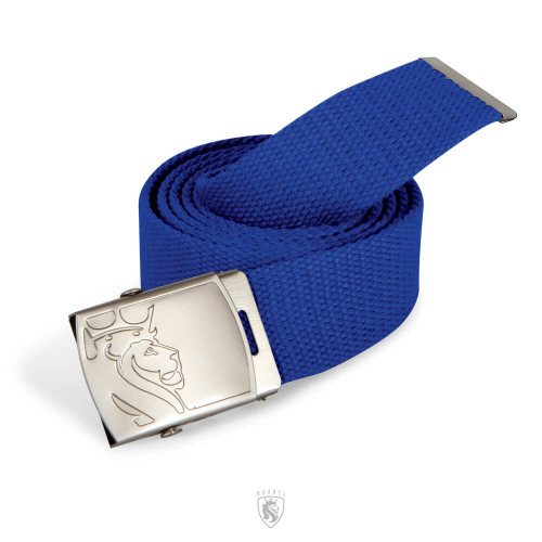 Blue Web Belt with Lion Buckle